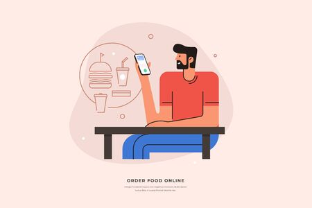 Young man orders food through a modern application in a smartphone vector illustration. Purchase and payment of fast food in a mobile phone. Online store and home delivery. 矢量图像
