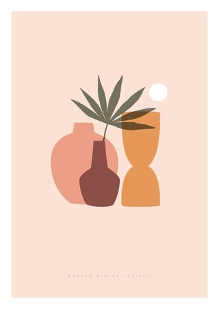 Trendy composition exotic leaves and abstract vases for home decor, greeting card designs, invitation. Modern art. Minimalist shapes in pastel colors on light isolated background. Vector illustration.