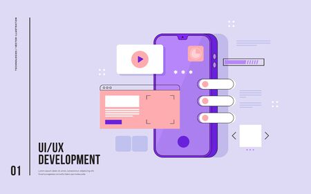 Mobile UI / UX development design concept. Smartphone with interface elements. Digital industry. Innovation and technologies. Mobile app. Vector flat illustration for web page, banner, presentation. 矢量图像