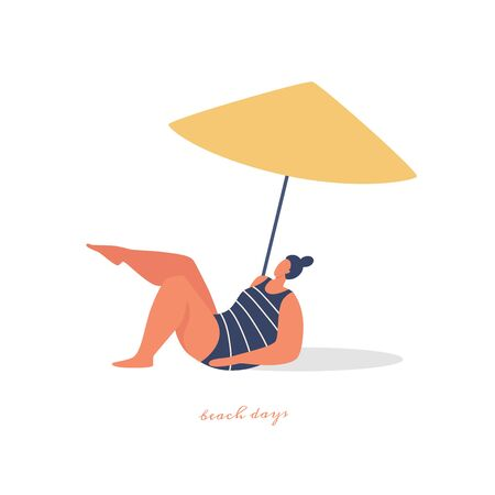 Young beautiful woman sunbathes under a beach umbrella. Plump girl is resting and spending leisure time in the fresh air. Vector images in trendy flat style.