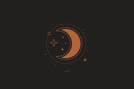 Mystical composition with a crescent and stars on a dark background. Boho style and esoteric. Ethnic magic and astrological symbols. Vector illustration.