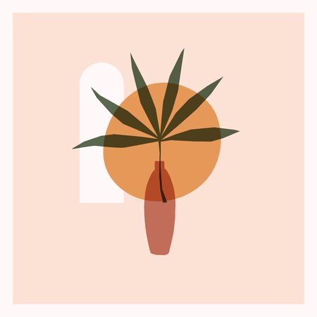 Trendy composition of exotic leaves and abstract vases for home decor, greeting card designs, invitation. Modern art. Minimalist shapes in pastel colors on light background. Vector illustration.