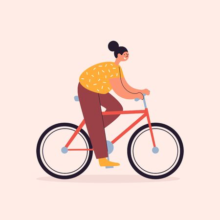 Cheerful young woman rides a bicycle on a light isolated background. Girl cyclist vector flat illustration. Healthy lifestyle, active sports activities. Walking on ecological transport.