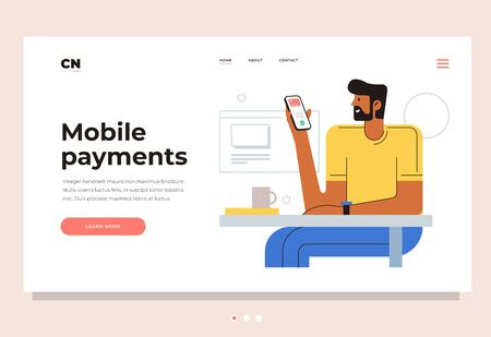 Design template for landing page. A young man sits at a table and pays for services through a mobile phone. Header for mobile payment website. Colorful flat vector illustration.