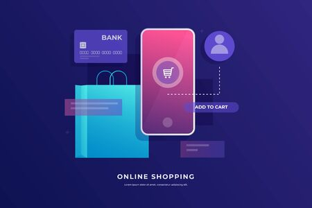 Concept of online payments, mobile shopping vector illustration. Modern online shopping. Image of a smartphone screen, bank card, and package. It can be used for website, banner, presentation.