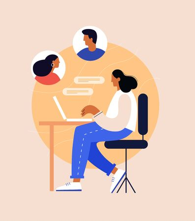 Concept of communication over the Internet. A young woman is sitting at a laptop and chatting with colleagues at a remote work. Distance learning, trainings and online courses. Vector illustration. 矢量图像
