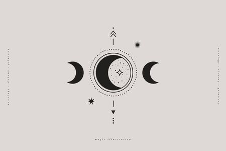 Mystical composition with moon phases, stars, and arrows on a light background. Astrological signs in a trendy linear minimalist style. Abstract esoteric symbol in boho style.