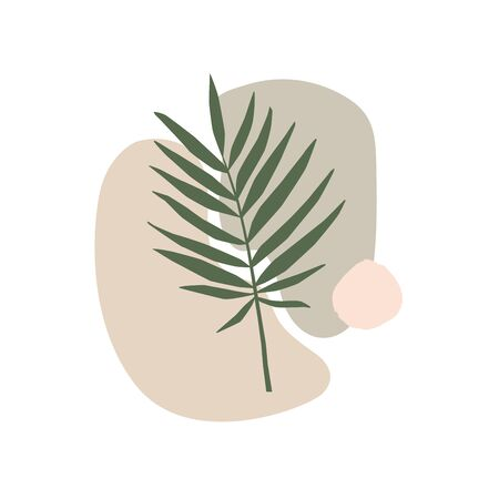 Exotic leaf and freehand shapes composition in pastel colors. Minimalistic botanical image for ecological design. Organic abstract emblem on a light background. Vector illustration.