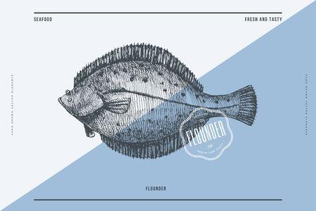 Hand-drawn flounder vector illustration. Sea fish in engraving style on a light background. Design element for fish restaurant, market, store, flyer, packaging, label, menu. 矢量图像