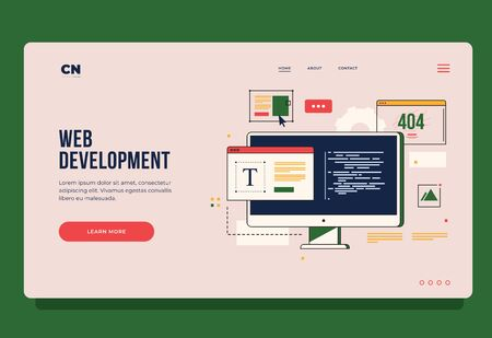 Concept of web development, programming, coding and web design. Header for website. Homepage. Elements of interface and browser windows on monitor screen. Innovations and technologies.
