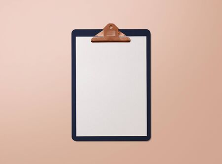 Realistic mockup. Clipboard with sheets of paper on nude background. Template for branding identity. Blank objects for placing your design. 3d illustration. 免版税图像