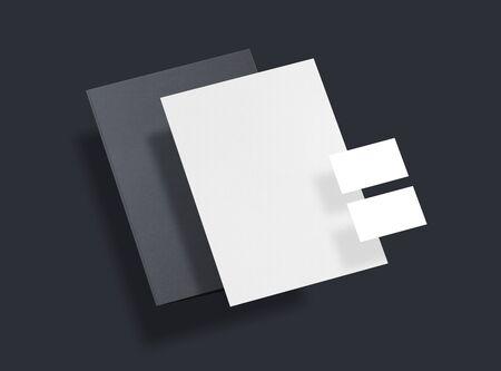 Mock-up. Template for branding identity. Folder for placing your design. Sheets of paper, business cards and folder. 3d illustration.