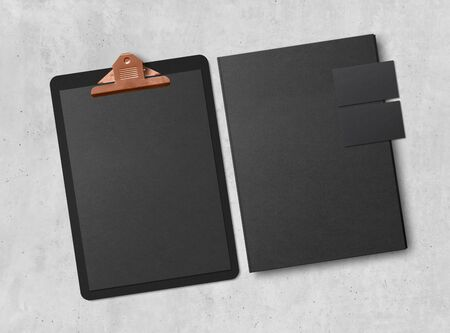 Mock-up. Clipboard with sheets of paper, business cards and folder on concrete background. Template for branding identity. Blank objects for placing your design. 3d illustration.