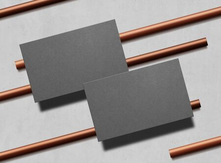 Two business cards. Mock up. Gray business cards template for your design on copper pipes background. Corporate templates, identity design, company style. Top view. 3d illustration.