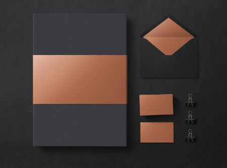 Mock up. Set of mock up elements on black background. Empty objects to place your design. Flat lay. Top view. 3D illustration. 免版税图像