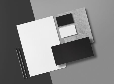 Corporate Identity Branding Mock Up. Set of elements on a gray background. Blank objects for placing your design. 3d illustration. Foto de archivo