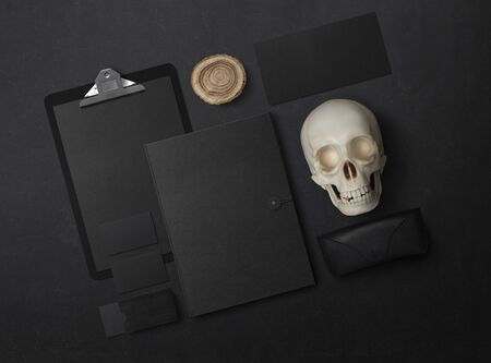 Mock-up. Template for branding identity. Blank objects for placing your design. Sheets of paper, business cards and envelope. Skull 3d illustration