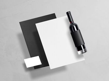 Mock up. Template for brand identification. Blank objects for placing your design. Black folder, sheet of paper, white business card, bottle of red wine with a black label. 3d illustration.