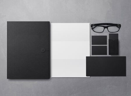 Corporate Identity Branding Mock Up. Set of elements on a gray background. Blank objects for placing your design. 3d illustration. 免版税图像