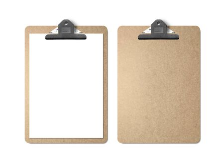 Realistic mockup. Clipboard with sheets of paper on white background. Template for branding identity. Blank objects for placing your design.