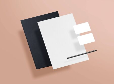 Mock up. Template for branding identity. Blank objects for placing your design. Sheet of paper, business cards and folder. 3d illustration. 免版税图像