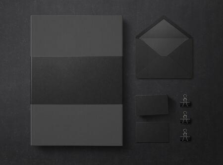 Mock up. Set of elements on black background. Blank objects for placing your design. Folder, envelope and business cards. Top view. 3d illustration.