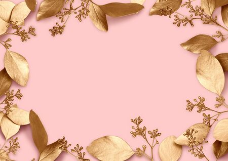 Holiday background. Space for text in a frame of golden leaves. Design element for wedding and family celebrations, cards, banners. Top view. 3d illustration on a pink background.