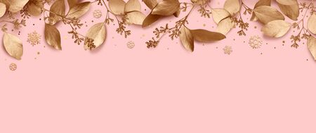 Christmas holiday background. Empty place for text with a garland of golden leaves and snowflakes. Design element for Christmas and New Year cards, banners. Top view. 3d illustration.