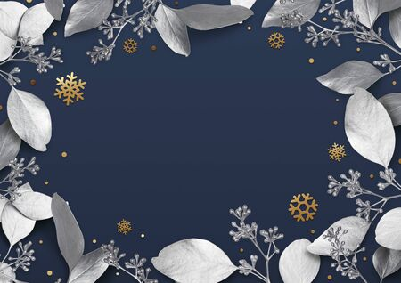 Christmas holiday background. Empty place for text in a frame of silver leaves and snowflakes. Design element for Christmas and New Year cards, banners. Top view. 3d illustration. 免版税图像