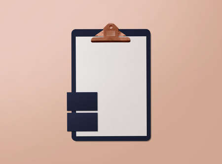 Realistic mockup. Clipboard with sheets of paper and business cards on nude background. Template for branding identity. Blank objects for placing your design. 3d illustration.