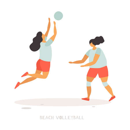Young girls play beach volleyball. Popular summer sports and outdoor activities. Vector flat illustration on white isolated background.