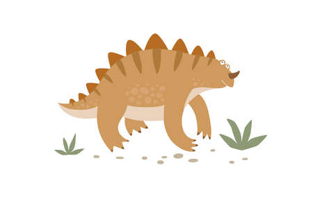 Funny striped dinosaur walks in the grass. Cute monster isolated on a white background. Funny prehistoric animal of the Jurassic period. Colorful cartoon vector illustration in flat style.  イラスト・ベクター素材