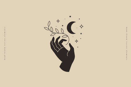 Hand keeps branch with sheets on background of crescent and stars. Trendy minimalistic magic symbol on light background. Vector illustration for organic cosmetics and packaging for handmade products. Illusztráció