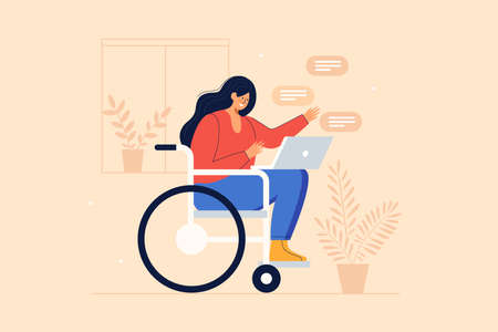 Young joyful girl in a wheelchair communicates via internet applications on a laptop. Communication and correspondence through social networks of people with reduced mobility. Vector illustration.