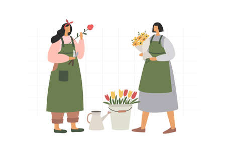 Two girls collect and arrange bouquets on a white isolated background. Florists sell flowers and flower arrangements as a gift and for decoration. Illustration in trendy flat style.