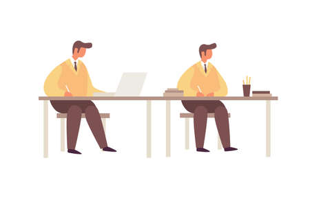 Cartoon young businessmen working at the table on white isolated background. The concept of communication. Teamwork in a command of business people. 矢量图像