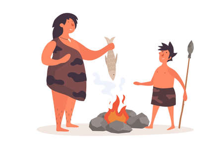 A primitive woman, dressed in pelt, holds a fish and talks to her child. The life of Neanderthals and cavemen. Flat illustration on white isolated background.