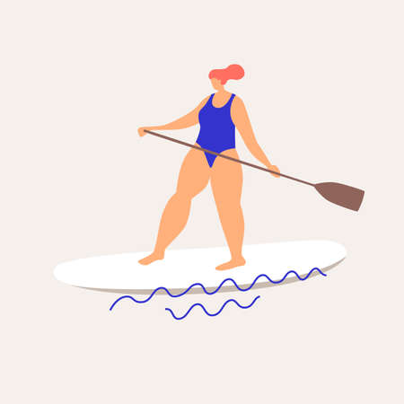 Cute woman sup-surfing sailing on the waves. Rest in the summer at sea. Trendy types of water activities. Illustration in flat style on bright isolated background.