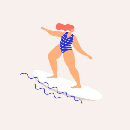 Cute woman surfing sailing on the waves. Rest in the summer at sea. Trendy types of water activities. Illustration in flat style on bright background.