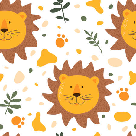 Seamless pattern with cute lion and his tracks. Funny cartoon muzzles lion. Cartoon illustration.