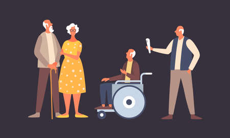 The concept of active life in old age. People in old age in different situations. Old man in a wheelchair. Elderly activity, elderly care, comfort and communication in old age.