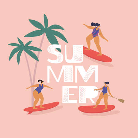Cute girls in swimsuits ride surfing and sup-surfing. Rest in summer on tropical sea. Trendy types of water activities. Illustration in flat style on isolated background. 矢量图像