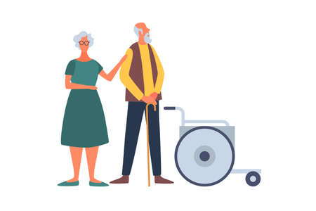 Elderly married couple and wheelchair. Help for the elderly and sick people. The concept of comfortable life in old age. People of old age in different situations.