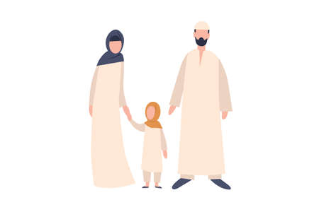 Young Arab family. The man is an Arab in a long white dress and a knitted hat. Woman and girl in long Muslim dress and headscarf. 矢量图像