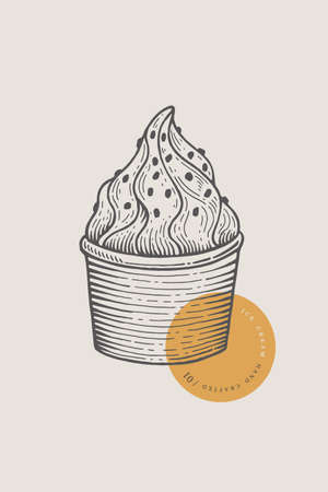 Graphically hand-drawn ice cream in a paper cup. Engraving with a cold delicacy for the menu of restaurants, for packaging in markets and in shops.