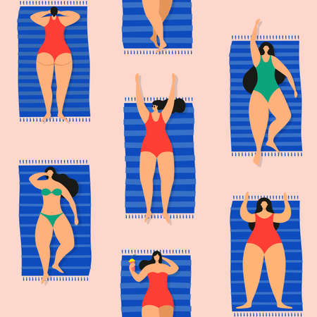 Colorful seamless summer pattern with sunbathing young beautiful women on beach. Girls on beach or on sea rest and spend their leisure time in fresh air. 矢量图像