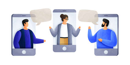 Chatting with colleagues using mobile phones. Young men of talk to each other, discuss news, social networks. Colleagues are negotiating. People with speech bubbles dialogs. Illustration. 免版税图像