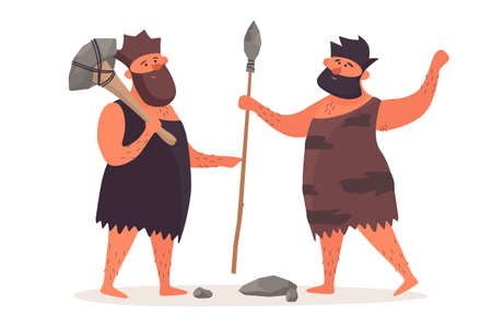 A primitive man with an ax is talking beside a man with a spear. Prehistoric people dressed in pelts on a white isolated background. The life of Neanderthals and cavemen.