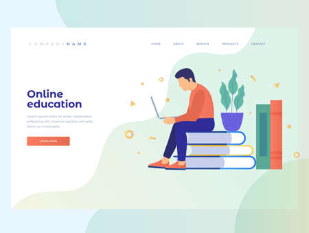 Concept of e-learning, online education and wireless networks. The use of electronic libraries. Young man sitting on book and looks at the monitor screen surrounded by books. Homepage Landing Page.