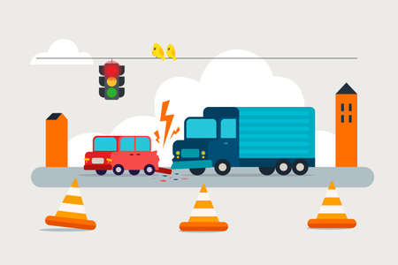 Accident on road. Collision truck and passenger car.Failure to respect traffic rules. Flat vector illustration.